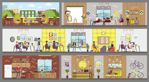 Projete quartos interiores de estúdio com pessoas que trabalham.