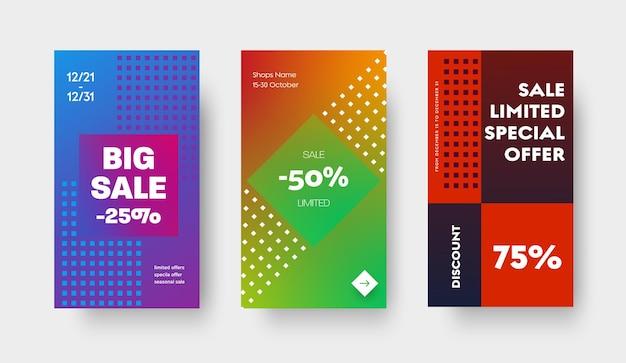 Projete um conjunto de banners de gradiente de cor vetorial para aplicativos móveis, histórias e mídias sociais. modelo com um quadrado e um losango e um desconto de 25, 50 e 75% em uma grande venda, ofertas especiais.