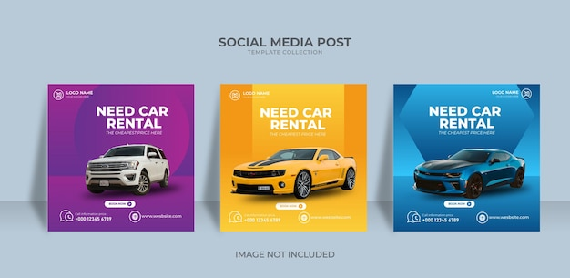 Projete um conjunto moderno e elegante de aluguel de carros e banner de venda