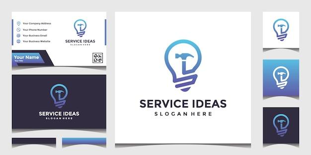 Projete um logotipo de ideia de serviço de construção com um cartão de visita elegante