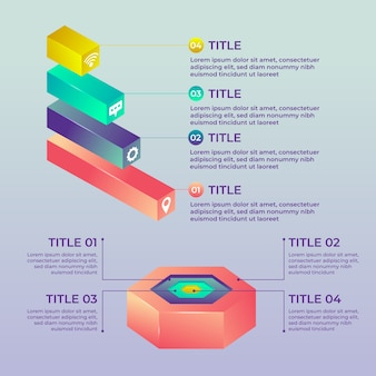 Projeto 3d brilhante infográficos