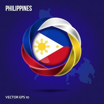 Projeto 3d do pino da bandeira filipinas