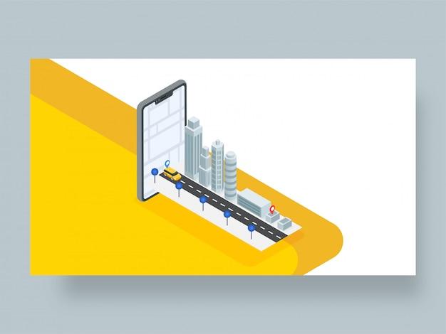Projeto 3d isométrico de uma aplicação de rastreamento de localização de táxi ou táxi.