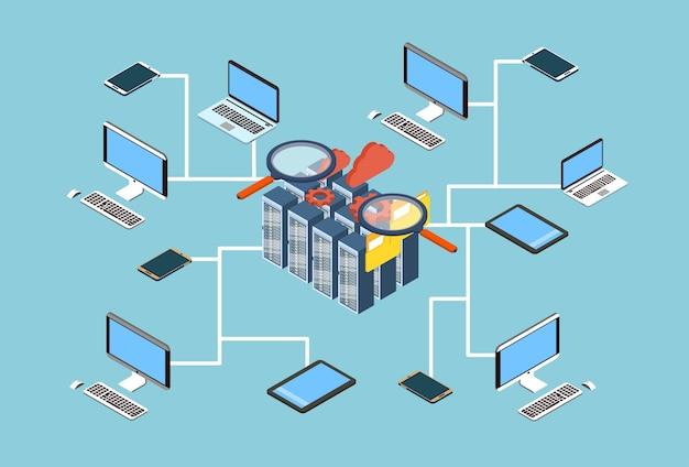 Projeto 3d isométrico dos dados da busca do usuário do banco de dados