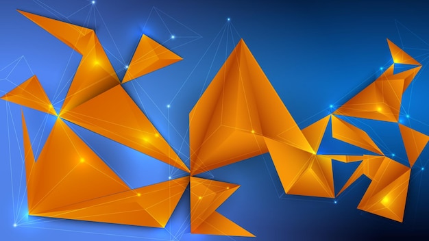 Projeto 3d poligonal de baixo poli com triângulos coloridos.