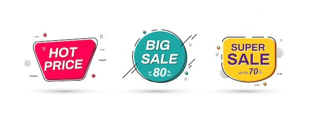Projeto abstrato da bandeira da promoção de venda. modelos de banner de venda.