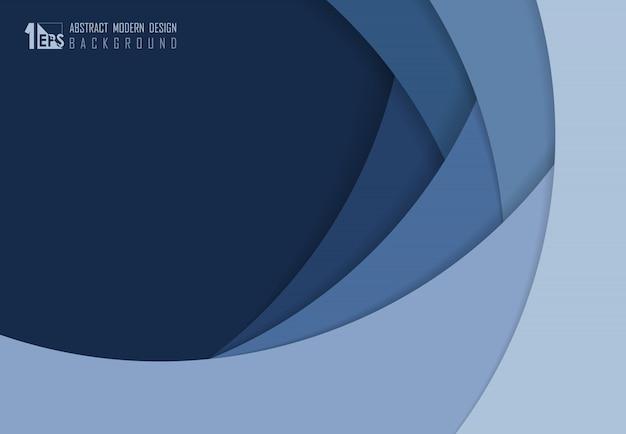 Projeto abstrato da sobreposição do corte do papel azul do fundo da arte finala do modelo.