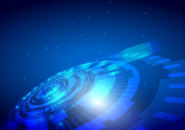 Projeto abstrato da tecnologia do vetor no fundo azul.