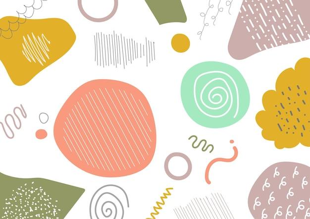 Projeto abstrato do doodle do estilo minimalista do modelo de arte pastel. mão que desenha o projeto do fundo do trabalho artístico. ilustração