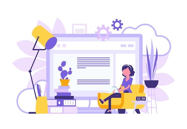 Projeto abstrato do escritório em casa da garota freelancer. trabalhador autônomo feminino fazendo trabalho online, sala de cor positiva brilhante de pessoa autônoma e símbolo de tela gigante. ilustração vetorial, personagens sem rosto