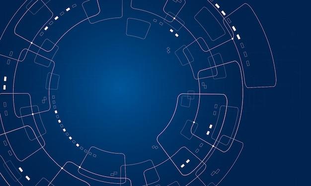 Projeto abstrato do fundo da tecnologia no fundo azul