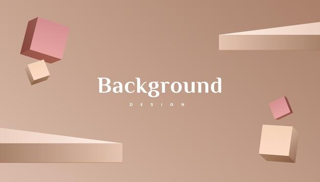 Projeto abstrato do fundo do gradiente ouro marrom 3d abstrato.