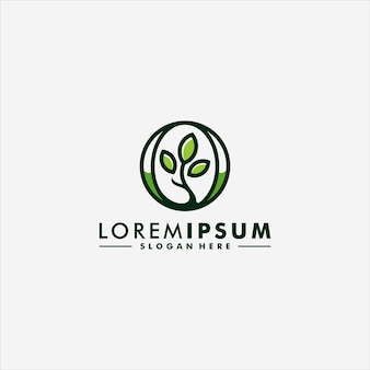 Projeto abstrato do ícone do logotipo da folha da árvore