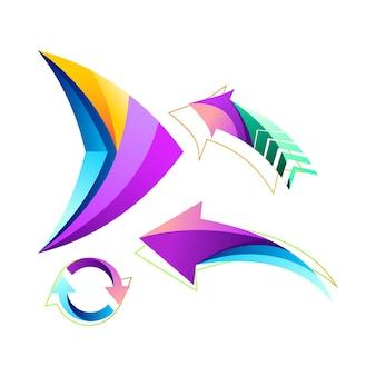 Projeto abstrato do logotipo da coleção de setas coloridas
