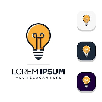 Projeto abstrato do logotipo da lâmpada Vetor Premium