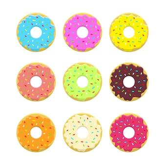 Projeto abstrato donuts definido em estilo e cores brilhantes. donuts vitrificados e em pó. .