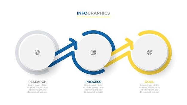 Projeto abstrato infográfico com círculo e setas conceito de negócio com 3 opções ou etapas