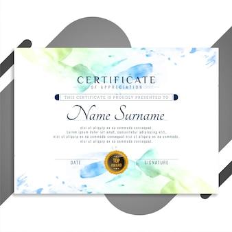 Projeto abstrato lindo certificado