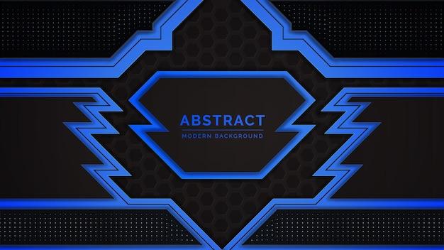 Projeto abstrato moderno com padrão de forma geométrica azul e preto