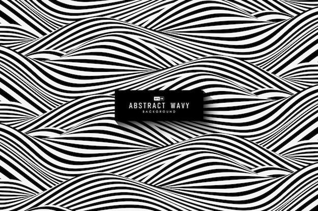 Projeto abstrato preto e branco padrão ondulado
