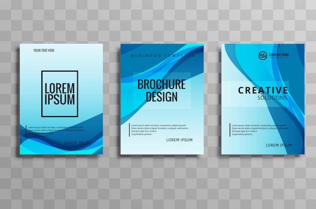 Projeto ajustado abstrato do folheto do negócio da onda azul