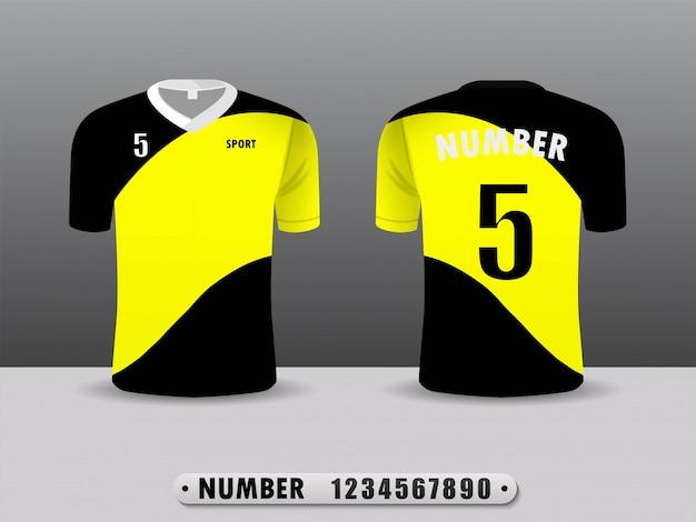 Projeto amarelo e traseiro do esporte do t-shirt do clube do futebol.