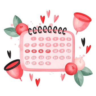 Projeto aquarela conceito de calendário menstrual
