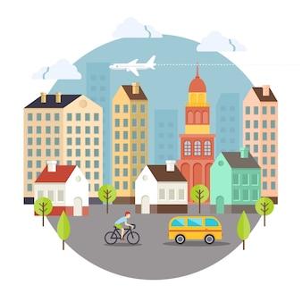 Projeto bonito colorido da rua da cidade do vetor. mais usado para notebooks e cartões