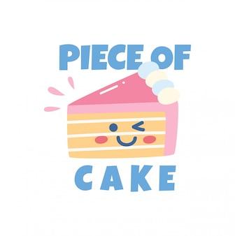 Projeto bonito da camisa de t com bolo e slogan do kawaii