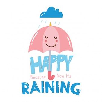 Projeto bonito da camisa de t com slogan e guarda-chuva kawaii