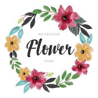 Projeto bonito da grinalda floral da flor da aguarela