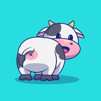 Projeto bonito da ilustração da mascote dos desenhos animados da vaca, sorrindo de volta.