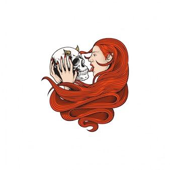 Projeto bonito da ilustração do crânio da menina