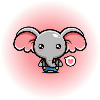 Projeto bonito da mascote do elefante