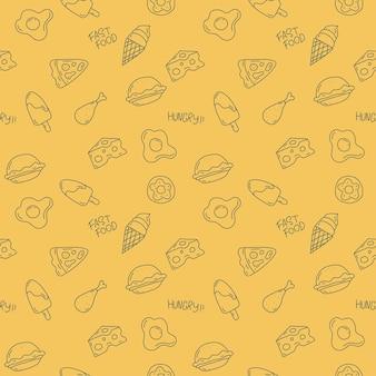 Projeto bonito de padrão de comida em fundo amarelo
