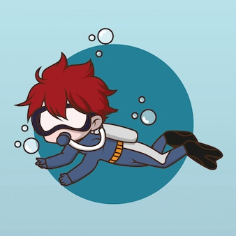 Projeto bonito do caráter do mergulhador da água