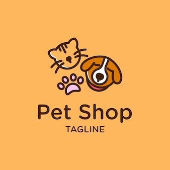 Projeto bonito do logotipo da loja de animal de estimação com cão e pata do gato