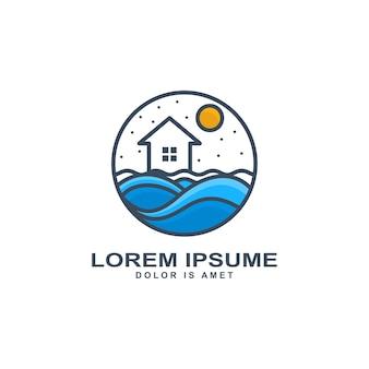 Projeto casa e mar logotipo modelo ilustração vetorial