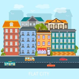 Projeto cidade plana com edifícios coloridos e estrada com ilustração vetorial de transporte