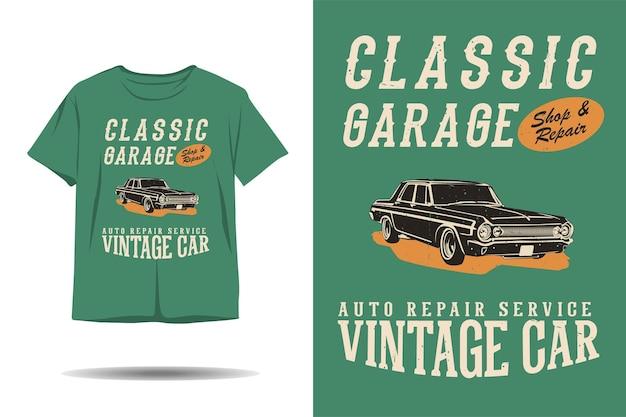 Projeto clássico de t-shirt com silhueta de carro antigo para oficina mecânica clássica