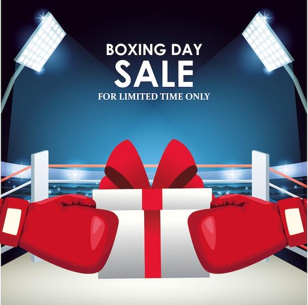 Projeto colorido de banner de venda de boxe com caixa de presente e luvas de boxe sobre o ringue de boxe