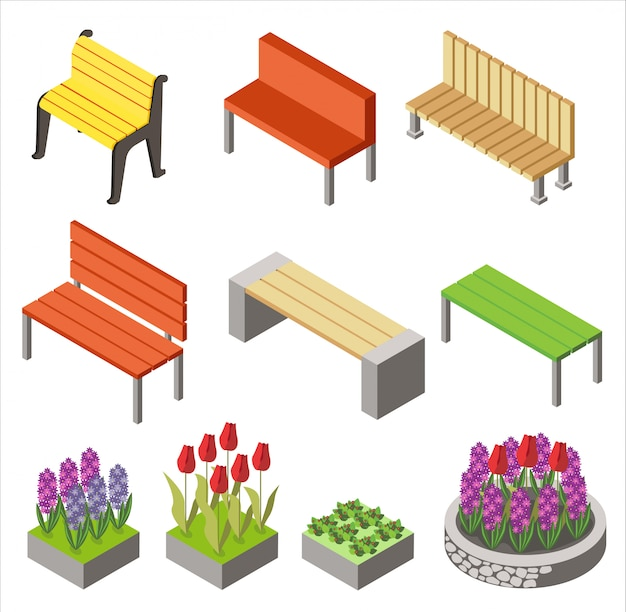 Projeto colorido de ícones isométricos dispostos com bancos e canteiros de flores para projeto de cidade isolado no branco.