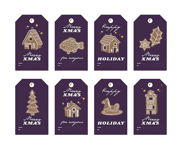 Projeto colorido de vetor biscoitos de gengibre de natal em fundo escuro. etiquetas ou etiquetas de natal com tipografia e ícone colorido.