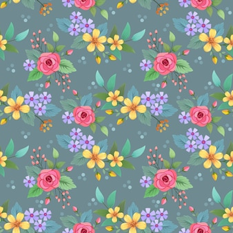 Projeto colorido do vetor do teste padrão de flores tirado mão. pode usar para o fundo de papel de parede de tecido têxtil.