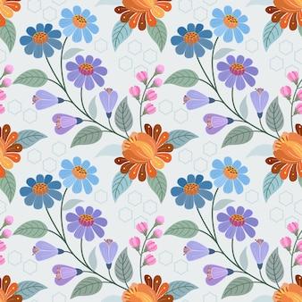Projeto colorido do vetor do teste padrão de flores tirado mão. pode usar para papel de parede de tecido têxtil.