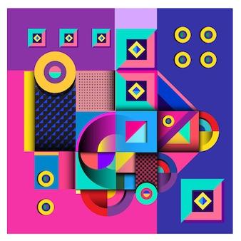 Projeto colorido dos elementos geométricos na moda de memphis