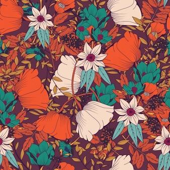 Projeto colorido teste padrão de flores