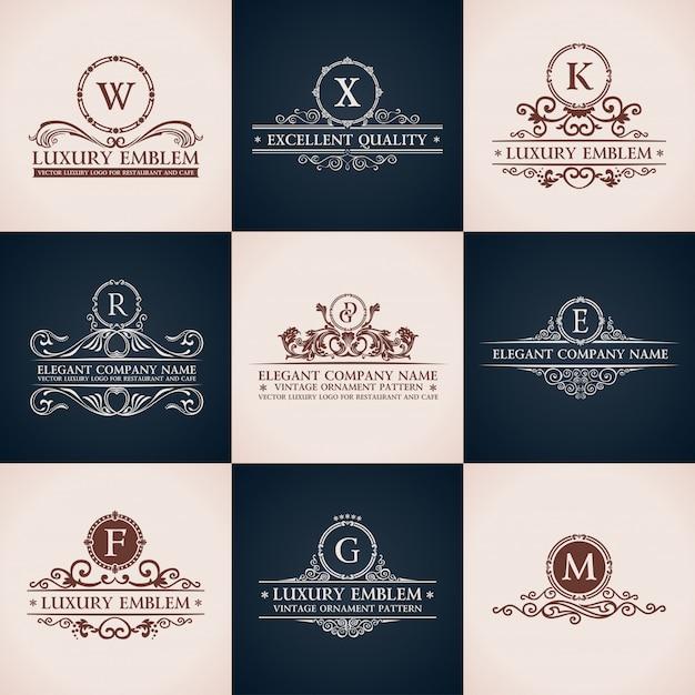 Projeto conjunto de logotipo. elementos de decoração elegante padrão caligráfico