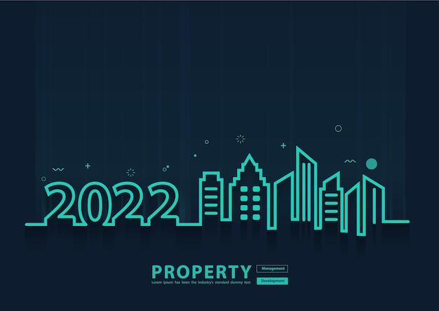 Projeto criativo da arte linha do horizonte da cidade de 2022 ano novo, com conceito de ideia de desenvolvimento de gerenciamento de propriedade, modelo de layout de capa de página moderna de ilustração vetorial