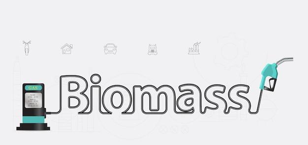 Projeto criativo do bocal tipográfico da bomba da biomassa
